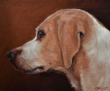 John Silver Original Oil Painting Portrait Of A Beagle Dog